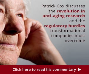 Patrick Cox discusses the revolution in anti-aging research and the regulatory hurdles transformational companies must overcome - click here to read his commentary